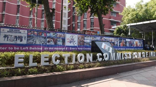 A view of the Election Commission of India building, Nirvachan Sadan, in New Delhi.(Arvind Yadav/HT PHOTO)