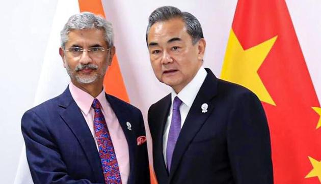 External Affairs Minister S Jaishankar and Chinese State Councilor and Foreign Minister Wang Yi met for nearly two hours on the sidelines of the SCO meet in Russia(PTI)