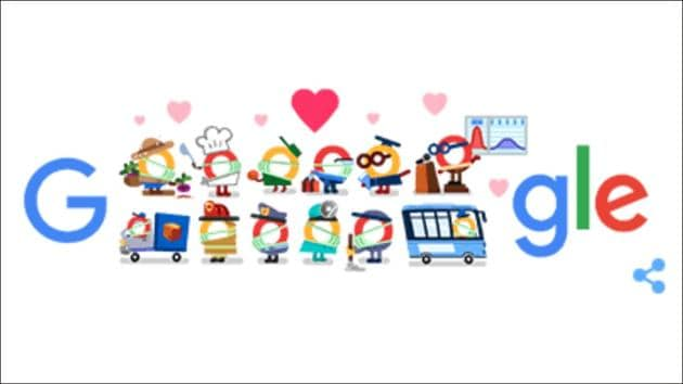 Google Doodle goes all hearts for coronavirus helpers this Monday(Google homepage)