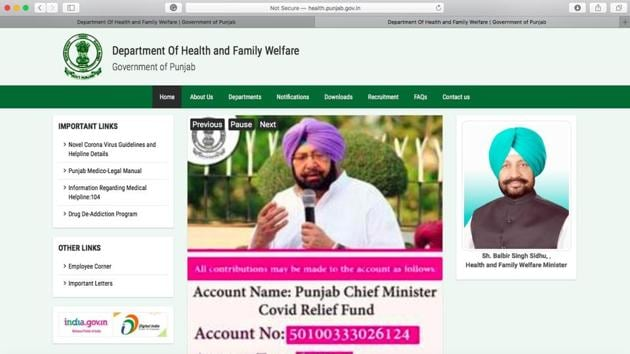 A screenshot of the Punjab health department's website, pbhealth.gov.in, that was revamped on Monday afternoon.(HT Photo)