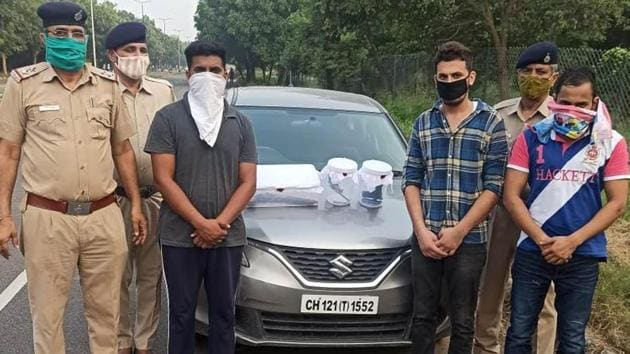 Three associates of Deepu Banur were arrested by the Chandigarh police crime branch on Sunday.(HT Photo)