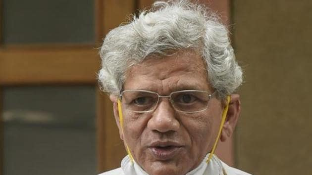 We strongly protest this criminalising of peaceful protests in defence of India's Constitution, said CPI(M) general secretary Sitaram Yechury(PTI)