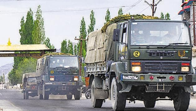 An army convoy moves towards LAC amid the India-China border dispute in the eastern Ladakh sector.(PTI PHOTO.)