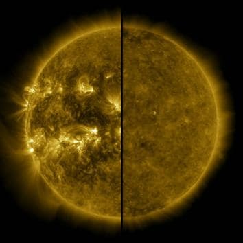 This split image shows the difference between an active Sun during solar maximum (on the left, captured in April 2014) and a quiet Sun during solar minimum (on the right, captured in December 2019). (Photo: Nasa)