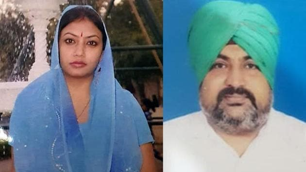 The decomposed body of school teacher Jyoti Kumari, 40, was found in her government accommodation on September 16 and (right) her husband, Mandeep Singh, 42, who is absconding with their younger son, is the prime suspect.(HT Photo)