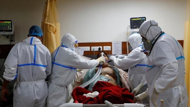 The move to augment hospital bed capacity came as Delhi experienced a record surge in confirmed infections. The capital on Wednesday added 4,473 new cases of Covid-19 — the highest single-day spike in the city.(Reuters Photo)