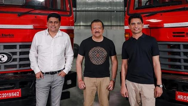 Chetan Singhal, Sid Das and Subodh Yadav (from Left to Right) with IPLT Rhino 5536 Electric Truck.(IPLTech Electric Pvt Ltd)