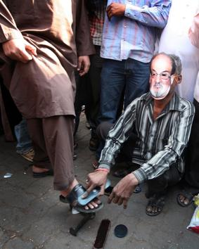 A protest against Salman Rushdie's participation at the Jaipur Literature Festival in January 2012.(HT file photo)