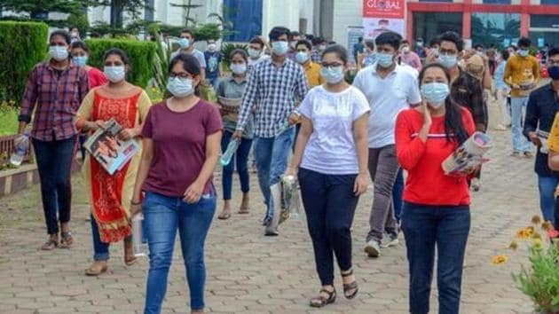 Students leave an examination centre after appearing for the JEE 2020 entrance papers(PTI)