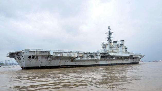 Decommissioned aircraft carrier of the Indian Navy, INS Viraat during its last journey from Naval Dockyard to Alang in Gujarat, where it will be dismantled, in Mumbai.(PTI)