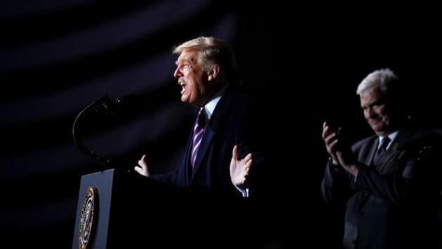 US President Donald Trump speaks during a campaign rally at Bemidji Regional Airport in Bemidji, Minnesota.(REUTERS)