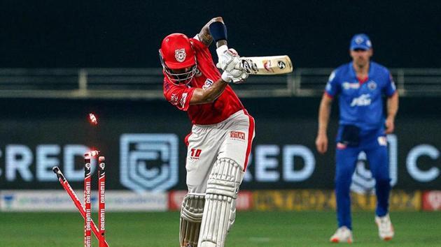 Kings XI Punjab Skipper KL Rahul clean bowled by Delhi Capitals Mohit Sharma.(PTI)