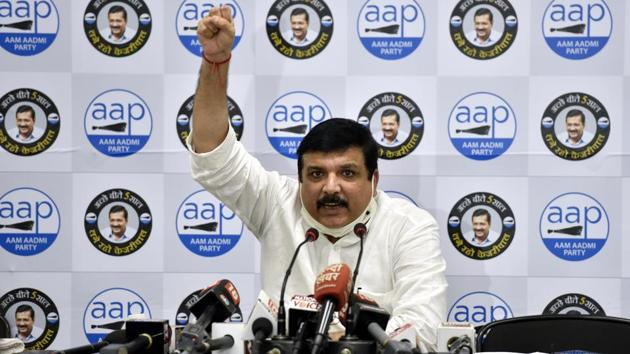 Senior AAP leader and Rajya Sabha member Sanjay Singh addressing a press conference, at AAP Headquarters, in New Delhi on Friday, September 18, 2020. (Photo by Sanjeev Verma/Hindustan Times)