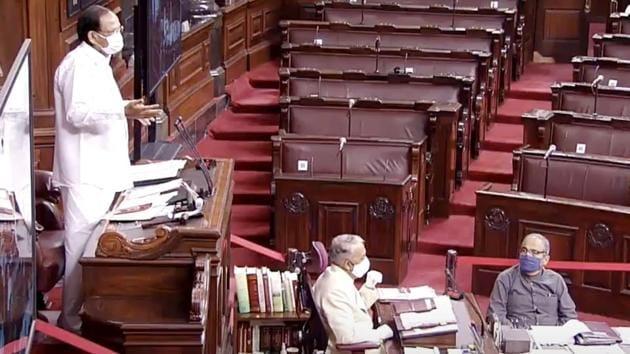 New Delhi, Sep 22 (ANI): Rajya Sabha Chairman M Venkaiah Naidu speaks during the Monsoon Session of Parliament, in New Delhi on Tuesday. (ANI Photo)(ANI)