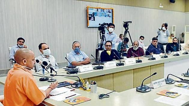 UP CM Yogi Adityanath at Tuesday's meeting.