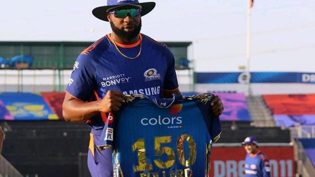 Kieron Pollard played his 150th match for Mumbai Indians in IPL(Twitter/MI)