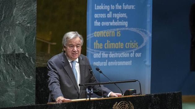 """. On Tuesday, Antonio Guterres appealed for a 100-day push by the international community, led by the Security Council, """"to make this a reality by the end of the year"""".(AP)"""