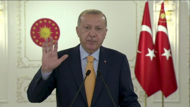 Recep Tayyip Erdogan speaking in a pre-recorded message played during the 75th session of the United Nations General Assembly on Tuesday.(AP)