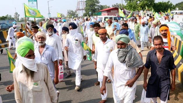 The farmers' bills have sparked off protests in various parts of the country, particularly in Punjab and Haryana.(Sanjeev Kumar/HT PHOTO)