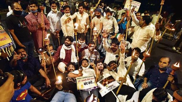 IYC supporters protest against the farm bills in New Delhi on Thursday.