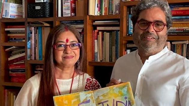 Vishal Bharadwaj with his wife Rekha Bharadwaj.