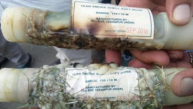 The expired tear gas shells, which the protesters alleged were used on them during the protest in Charkhi Dadri.(HT Photo)
