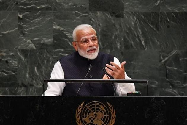 """Addressing the UNGA, PM Modi said, """"In the UN, India has always given priority to the welfare of the world. India is the country that sent its brave soldiers to 50 peacekeeping missions.""""(File photo)"""