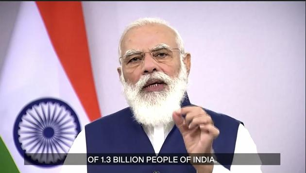 In this photo made from UNTV video, Narendra Modi, Prime Minister of India, speaks in a pre-recorded message which was played during the 75th session of the United Nations General Assembly at UN Headquarters.(AP)