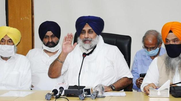 SAD core committee, in a meeting presided over by party president Sukhbir Singh Badal, decided unanimously to pull out of the BJP-led NDA alliance.(@Akali_Dal_/Twitter Photo)