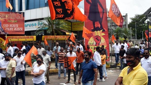 Maratha community staging dharna to demand Maratha reservation policy implementation in Mumbai on Sept 20, 2020.(Bhushan Koyande/ HT Photo)
