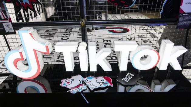Signage is displayed at the TikTok Creator's Lab 2019 event hosted by Bytedance Ltd. in Tokyo.(Bloomberg File Photo)