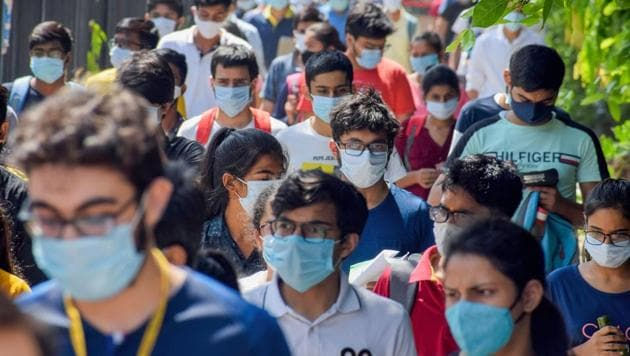 Gurugram: Students step out of an examination centre after appearing in Joint Entrance Examination-Advanced 2020, during Unlock 4.0, in Gurugram, Sunday(PTI)