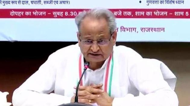 """""""My heartfelt condolences at the passing away of senior leader from Rajasthan and former union minister, shri Jaswant Singhji,"""" Gehlot tweeted.(ANI photo)"""