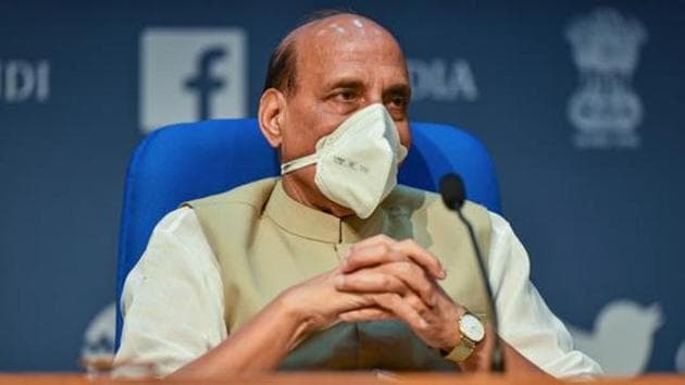 Defence minister Rajnath Singh during a press conference at NMC in New Delhi on September 20, 2020.(PTI File Photo)