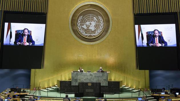 In this photo provided by the United Nations, Abdalla Adam Hamdok, prime minister of Sudan, speaks in a pre-recorded message which was played during the 75th session of the United Nations General Assembly, Saturday, Sept. 26, 2020, at UN headquarters.(AP)