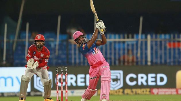 IPL 2020: Sanju Samson sends one into the empty stands.(IPL/Twitter)