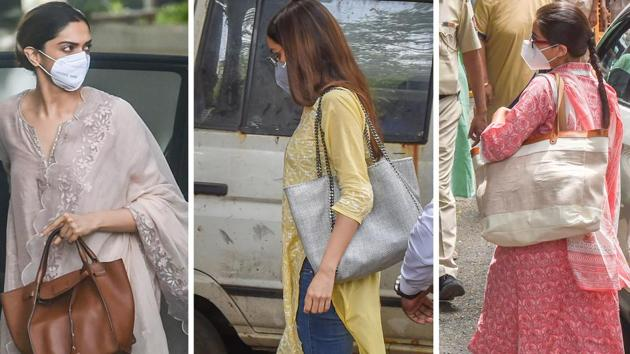 Bollywood actors Deepika Padukone, Shraddha Kapoor and Sara Ali Khan at the NCB office for questioning in a drug probe related to late actor Sushant Singh Rajput's death.(PTI)