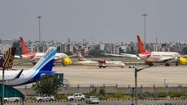 Planes of different airlines parked at T-3 of IGI Airport.(PTI File Photo)