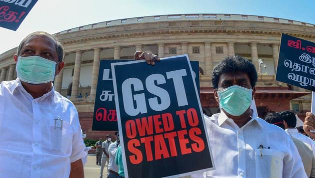 Members of various political parties have staged protests demanding the clearance of states' GST dues.(PTI Photo)