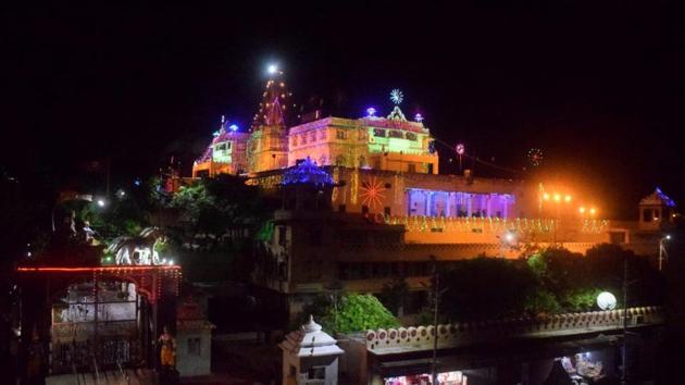 Sri Krishna Janambhoomi illuminated on the occasion of Janamasthmi.(HT FILE PHOTO PHOTO)