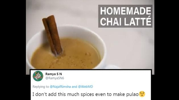 The image shows the home-made chai latte.(Twitter/@WebMD)