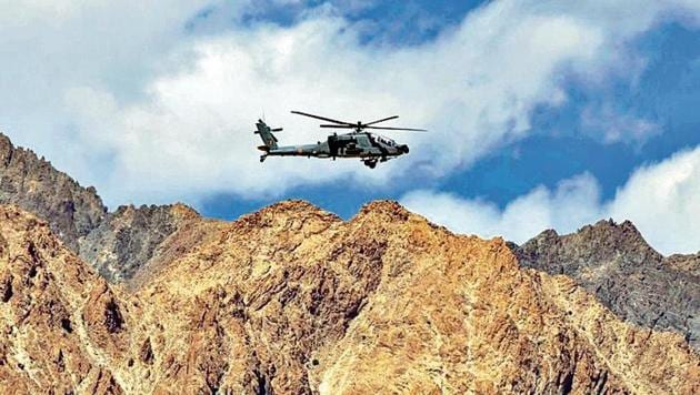 An Indian Air Force's Apache helicopter is seen in the Ladakh region.(Reuters File Photo)