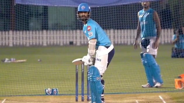 IPL 2020, DC vs SRH: Ajinkya Rahane has a hit out in the nets.(Delhi Capitals/Twitter)