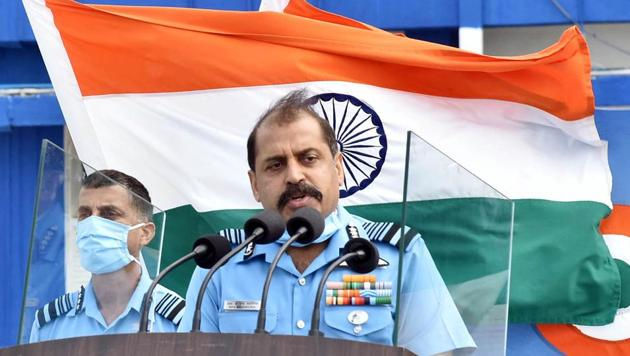 Chief of Air Staff Air Chief Marshal RKS Bhadauria addressing the media after reviewing the passing out parade at Air Force Academy, Dundigal.(ANI/ File photo)