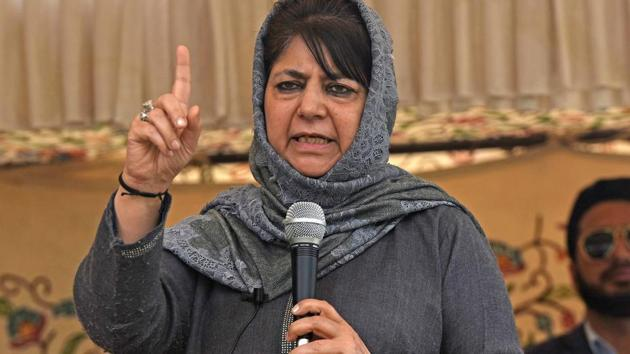 SRINAGAR, INDIA - APRIL 04:Former Chief Minister of Jammu and Kashmir Mehbooba Mufti speaks during parliament election rally in Sheeri in north Kashmir's Baramulla district, on April 04, 2019 .(Photo by Waseem Andrabi/ Hindustan Times)