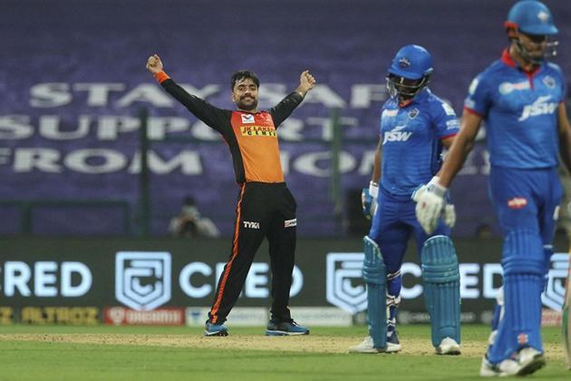 Sunrisers Hyderabad player Rashid Khan celebrates the wicket of Delhi Capitals batsman Rishabh Pant during the Indian Premier League 2020 cricket match, at Sheikh Zayed Stadium.(PTI)
