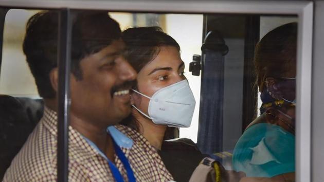 Rhea Chakraborty's bail plea will be heard by the Bombay High Court on Tuesday.(PTI)