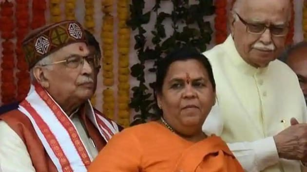 Key accused and senior leaders LK Advani, Murli Manohar Joshi and Uma Bharti have been acquitted in the Babri Masjid demolition case.(HT file photo)