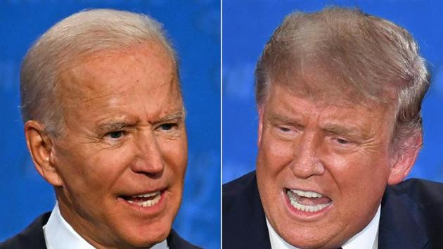 """Donald Trump insulted Biden's intelligence and jabbed the former vice president over unsubstantiated allegations about his son Hunter Biden's foreign business dealings. Biden called Trump """"the worst president America's ever had.""""(AFP)"""
