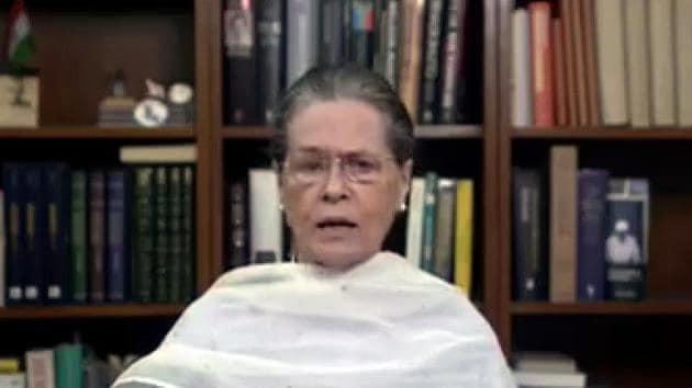 Congress President Sonia Gandhi during her video addresses on the Hathras gang rape case.(ANI)